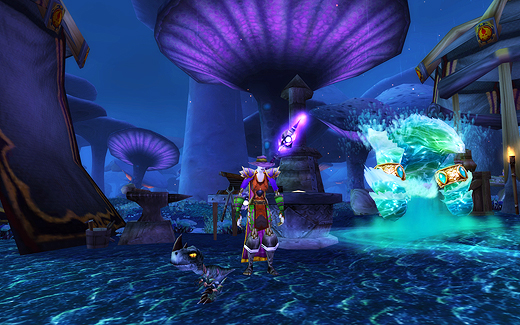 Misandry stands in Zangarmarsh in her clown outfit.